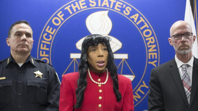 Winnebago County State's Attorney Marilyn Hite Ross, seen in this February 2020 file photo with Rockford Police Chief Dan O'Shea and Deputy State's Attorney Mike Rock, on Monday announced charges in the Oct. 15 accidental shooting death of a 3-year-old boy.
