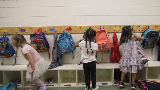 Prekindergarten students attend their first day of school on Aug. 28, 2019, at All Saints Catholic Academy in Rockford.