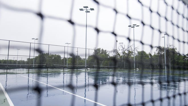 The tennis courts at Guilford High School in Rockford are seen  June 9, 2020.