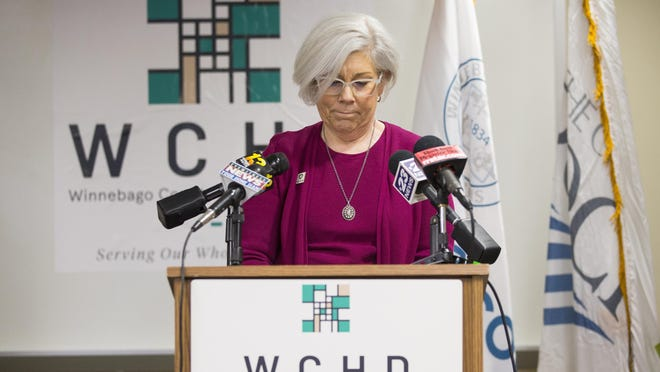 Winnebago County Public Health Administrator Sandra Martell, seen here on March 31, 2020, at the Winnebago County Health Department, announced Friday, Aug. 14, 2020, that Winnebago County is no longer at warning level for COVID-19 risk. The county was placed on warning level last week.