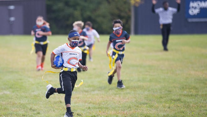 Junior NFL Flag Football players compete Saturday at Clarence Hicks Memorial Sports Park in Rockford. The park is one of several facilities that the Rockford Park District hopes to improve.