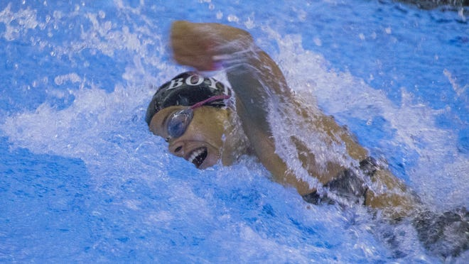 Boylan's Nhia Caras swims her best 100-yard freestyle race at the Byron Sectionals on Saturday in Byron. Her time put her third in the state in the Illinois Swim and Dive Coaches Association final standings.