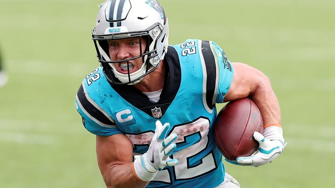 The Kansas City Chiefs will have to contend with Carolina Panthers running back Christian McCaffrey (22) on Sunday when the teams meet at Arrowhead Stadium in Kansas City.