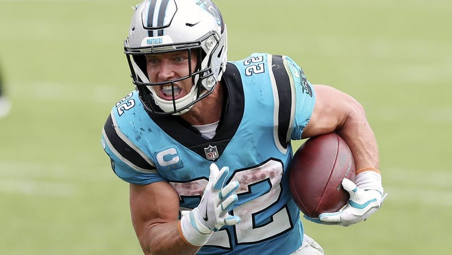 Carolina Panthers running back Christian McCaffrey (22) has been out since Week 2 with a leg injury, but could return this Sunday against the Kansas City Chiefs. When healthy, McCaffrey is one of the beset and most versatile running backs in the NFL.