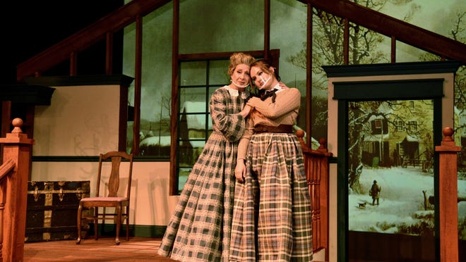 """Marmee, played by Victoria Spicer, gives sympathy to her daughter Jo March, played by Karlie Will, after learning Jo's youngest sister, Amy, burned a story Jo wrote during a scene in the upcoming musical """"Little Women"""" that will be at the Salina Community Theatre from Nov. 27 through Dec. 20."""