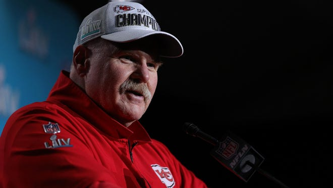 Kansas City Chiefs head coach Andy Reid talks to media after defeating the San Francisco 49ers, 31-20, in Super Bowl LIV at Hard Rock Stadium in Miami Gardens, Florida, on February 2, 2020.