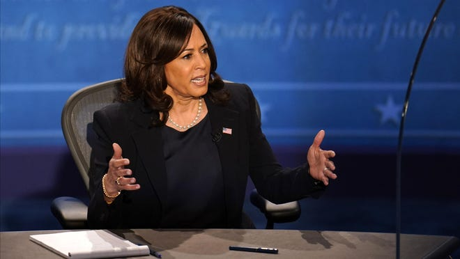 Democratic vice presidential candidate Sen. Kamala Harris, D-Calif., participates in the vice presidential debate with Vice President Mike Pence Oct. 7 at Kingsbury Hall on the campus of the University of Utah in Salt Lake City.