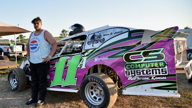 Austin Rogers,16, from Hutchinson, raced his fourth race Friday night at Salina Speedway. Rogers grew up at the race track and wanted to drive just like his dad.
