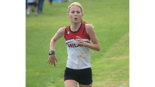 Milan's Seanna Schmidt runs during the 37th annual Mason Frank Connolly Relays in 2019.