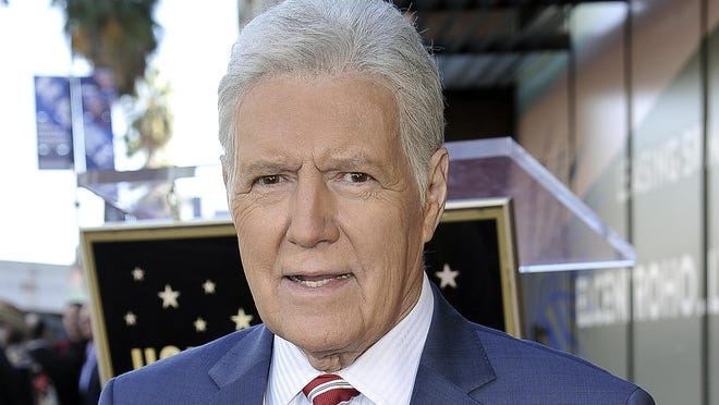 "Alex Trebek, host of ""Jeopardy!"" attends a ceremony honoring the show's executive producer Harry Friedman with a star on the Hollywood Walk of Fame on Friday, Nov. 1, 2019, in Los Angeles."