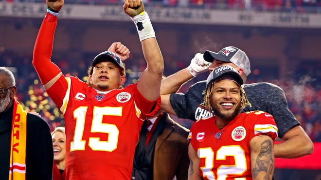 Kansas City Chiefs players Patrick Mahomes, left, and Tyrann Mathieu participated in the recent NFL video supporting Black Lives Matter and have been vocal about doing what they can to make the world a better place.