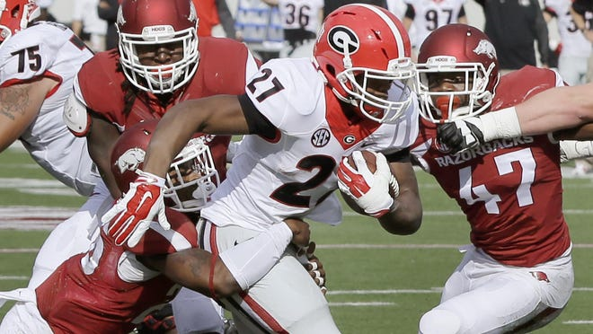 Georgia running back Nick Chubb (27) rushed for 202 yards in the Bulldogs' 45-32 win over Arkansas in 2014.