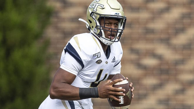 Georgia Tech's James Graham looks to pass against Duke in Durham, N.C., on Oct. 12, 2019.