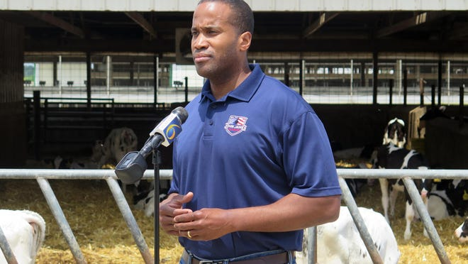 In this Monday, June 22, 2020, file photo, Republican U.S. Senate candidate John James speaks at Weir Farms in Hanover Township, Mich. U.S. Sen. Gary Peters of Michigan, one of two Democratic senators up for re-election in a state won by President Donald Trump, raised $5.2 million over three months in his campaign for reelection -- his largest quarterly haul -- leaving him with more than $12 million with four months until Election Day. He is facing a challenge from Republican businessman and Army veteran John James, who raised $6.4 million over three months outraising the incumbent since entering the race more than a year ago.