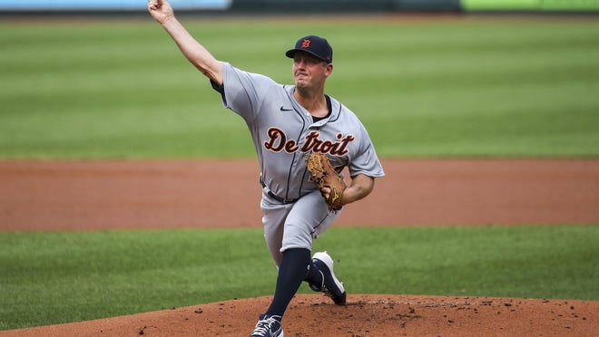 Detroit Tigers starting pitcher Jordan Zimmermann throws during the first inning in the second game of a baseball doubleheader against the St. Louis Cardinals, Thursday, Sept. 10, 2020, in St. Louis.