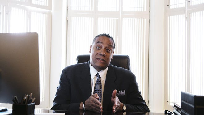 Wayne County Sheriff Benny Napoleon talks about his goals if elected as the mayor of the city of Detroit during a meeting on Monday March 25, 2013 in Detroit.