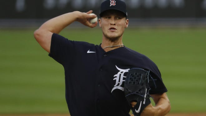 Detroit Tigers pitcher Matt Manning throws during an intrasquad baseball game in Detroit, Wednesday, July 15, 2020.