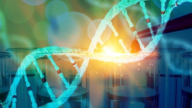 A DNA strand illuminated.