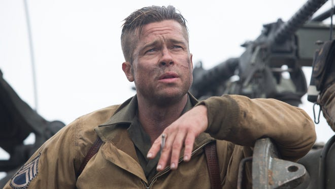 """Brad Pitt in """"Fury,"""" out Friday."""
