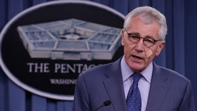 FILE - NOVEMBER 24, 2014: Defense Secretary Chuck Hagel is reportedly resigning from his post in the Obama administration on November 24, 2014 in Washington, DC. ARLINGTON, VA - NOVEMBER 14: U.S. Defense Secretary Chuck Hagel announces a series of reforms to the troubled nuclear force during a press briefing at the Pentagon November 14, 2014 in Arlington, Virginia. The measures are designed to shore up the US military's troubled nuclear force after a spate of incidents exposed management and morale problems. (Photo by Chip Somodevilla/Getty Images)