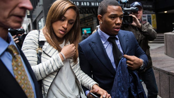 Ray Rice and his wife Janay Palmer arrive for a hearing Nov. 5 in New York.