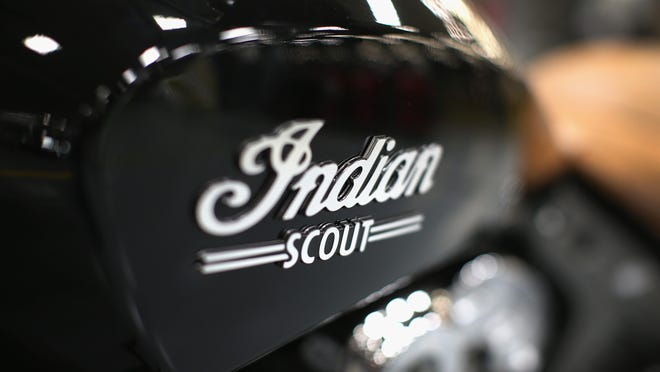 A pre-production Indian Scout motorcycle sits along the assembly line at the Polaris Industries factory in Spirit Lake on Aug. 8.