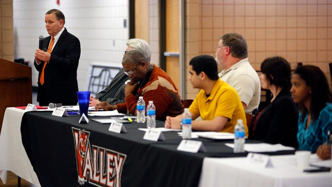Principal Tim Miller leads a forum at Valley High discussing racism and how it relates to the school and greater society Thursday, March 26, 2015.