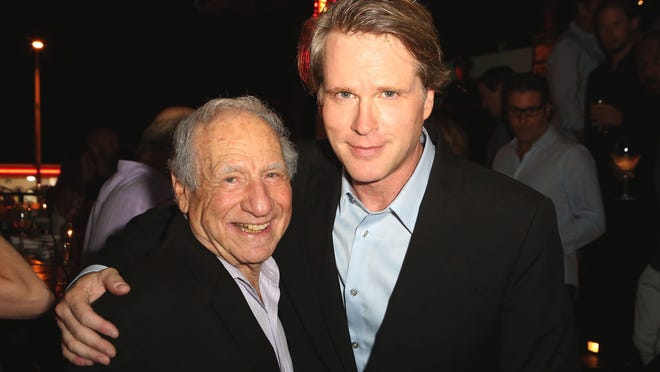 """""""As You Wish"""" is the new autobiography of Cary Elwes, right, pictured with Mel Brooks at a party marking the book's release."""