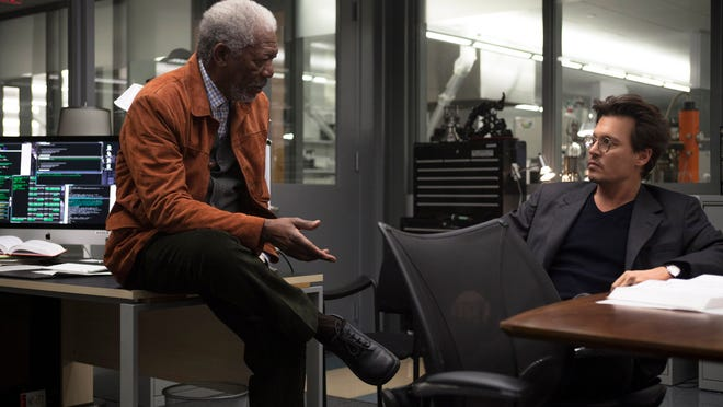 """Morgan Freeman, left, and Johnny Depp appear in a scene from """"Transcendence."""""""