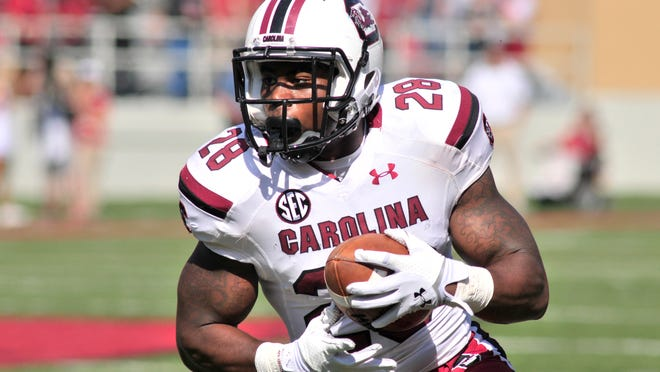 South Carolina running back Mike Davis has not practiced since injuring his ribs in practice Saturday morning.