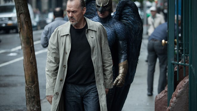"This photo released by Twentieth Century Fox shows Michael Keaton, left, as Riggan in a scene from the film, ""Birdman, or (The Unexpected Virtue of Ignorance"" directed by Alejandro Gonzalez Inarritu."