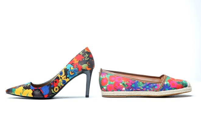 Vibrant floral pumps by J. Renee' are a high version of fun. Antonio Milani's floral fabric skimmers give you a similar look in low. Heels $79.95 at Pix Shoes, 201 S. Preston. Flats, $41.99 at Dillard's.