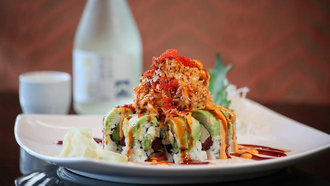 The Volcano Roll with Divine Droplets Sake.