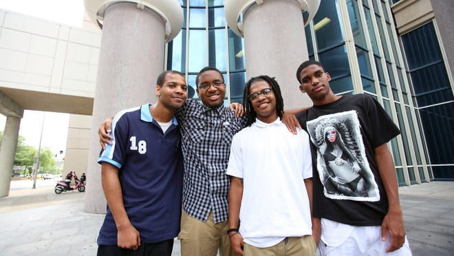 """The """"Misidentified 4"""" were cleared by a grand jury. From left to right are Jerron Bush, Craig Dean, Tyrone Booker and Shaquazz Allen. June 24, 2014"""