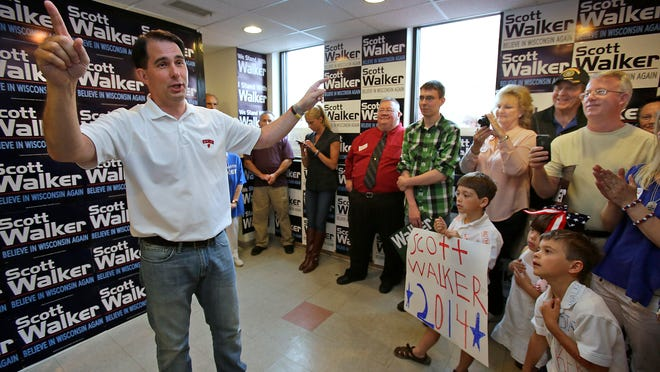 Wisconsin Governor Scott Walker makes a stop at the Republican Party of Wisconsin Appleton Headquarters June 21 in Appleton.