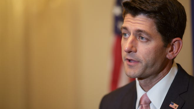 """U.S. Rep. Paul Ryan (R-WI) speaks during a press conference at the Union League Club of Chicago August 21, 2014 in Chicago, Ilinois. Ryan spoke at an event promoting his new book, """"The Way Forward."""""""