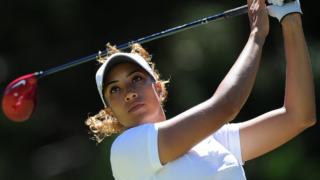 Cheyenne Woods of the United States plays a tee shot during day three of the 2014 Ladies Masters at Royal Pines Resort on February 8, 2014 on the Gold Coast, Australia.