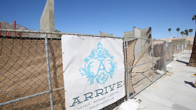 The Arrive Palm Springs, one of the city's newest hotels, is well under construction in uptown Palm Springs.