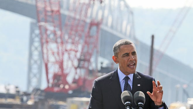 With the Tappan Zee Bridge as a backdrop, President Barack Obama speaks from the Washington Irving Boat Club in Tarrytown on Wednesday. The president spoke about the need for Congress to fund road and bridge improvements across the nation.