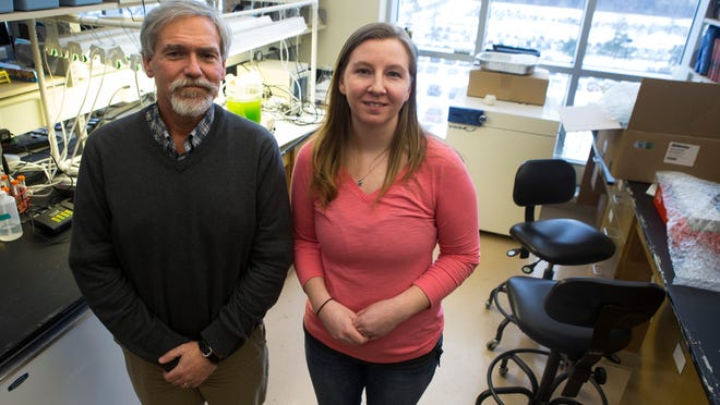 Associate Professor Jeffrey Lodge and graduate student Rebecca Clontz are working on a process to make biofuel from coffee grounds.
