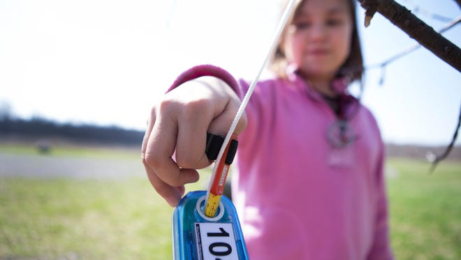 Sahara Mallery stops at a checkpoint while orienteering with her grandma at Black Creek Park in Chili.