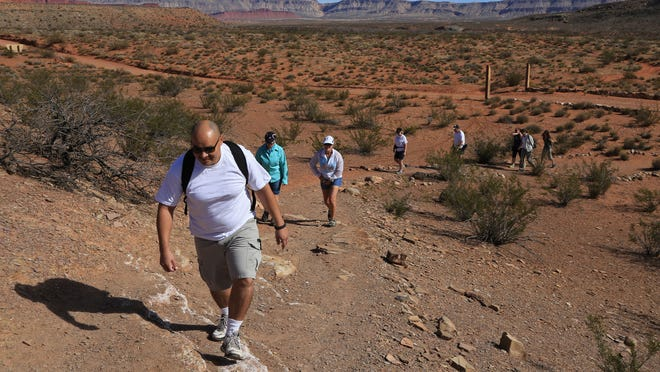 Ricardo Valdez leads a group of participants in February's BackTrek charity hike as they climb a hill toward historic Fort Pearce in Warner Valley.