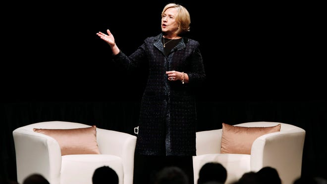 Former U.S. Secretary of State Hillary Rodham Clinton speaks at a Winnipeg Chamber of Commerce luncheon in Winnipeg, Manitoba, Wednesday, Jan. 21, 2015.