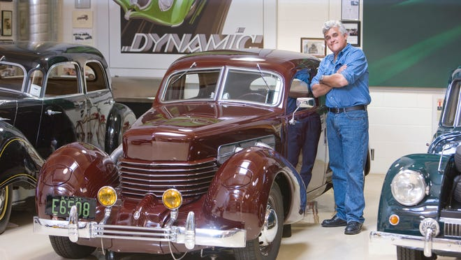 """""""Some are just old cars that I liked or things that I lusted after growing up. Sure, there's some exotics and some high-priced stuff, but a lot of it are just regular fun things I enjoy working on,"""" Jay Leno says of his vehicle collection."""