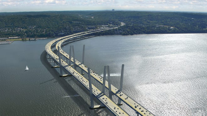 A rendering of the replacement for the Tappan Zee Bridge that is rising in the Hudson.
