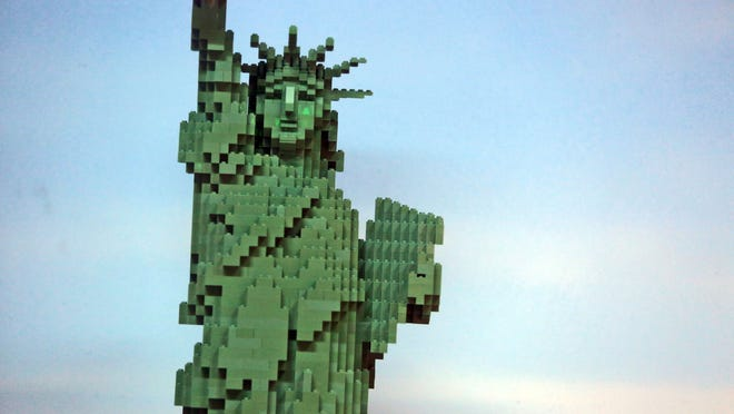 A Statue of Liberty made of Lego pieces at the Legoland Discovery Center at the Ridge Hill shopping center in Yonkers, on display in November. A planned Legoland in Haverstraw, right on the Stony Point border, has the two towns bickering, again, over property tax revenue.