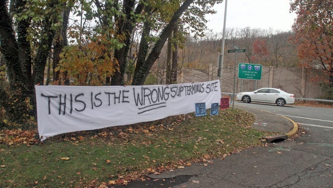 A sign at the intersection of Cornelison Avenue and South Broadway in Soutn Nyack, seen here in November, makes residents' views clear. Many in the village decry the plan to terminate the new Tappan Zee Bridge walking/biking path there.