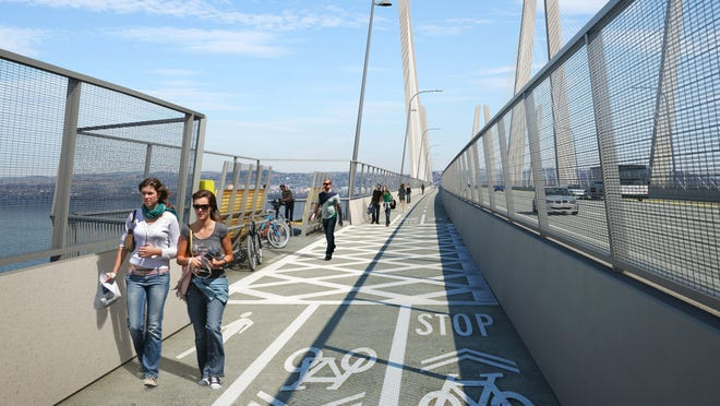 The opening of the biking-walking path on the new Tappan Zee Bridge on the Rockland side could be delayed if federal officials grant South Nyack's request. The village wants more time to connect the path to the Thruway's Interchange 10, which it wants to develop.
