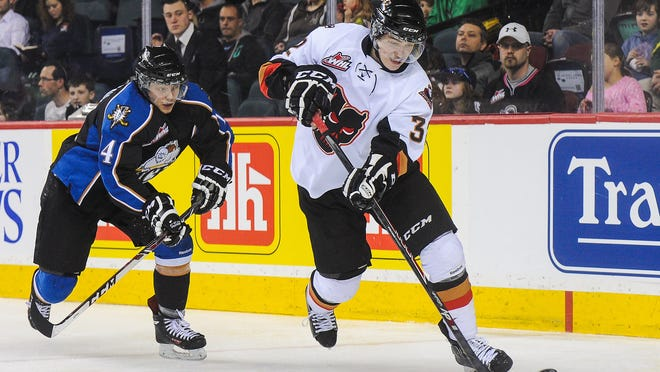 Travis Sanheim skates during a game for the Calgary Hitmen on March 15 in Calgary, Alberta, Canada. Sanheim was chosen by the Flyers with the 17th pick in the NHL draft.