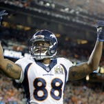 Denver Broncos Demaryius Thomas (88) celebrates late in the second half of Super Bowl 50.